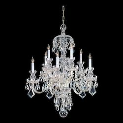 Polished Brass Traditional Crystal 10 Light 28in. Wide 2 Tier Glass Candle Style Chandelier with Clear Swarovski Elements Crystal