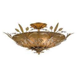 Crystorama Six Light Gold Leaf Swarovski Spectra Crystal Beads Glass Bowl Semi-Flush Mount - 4704-GL