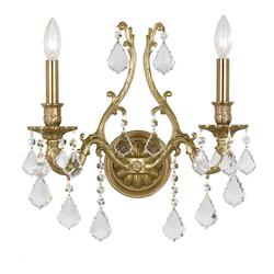 Crystorama Two Light Aged Brass Swarovski Elements Glass Wall Light - 5142-AG-CL-S