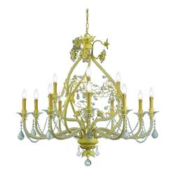 Champagne Regis 12 Light Candle Style Chandelier with Hand-Polished Crystals
