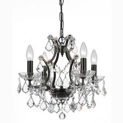 Four Light Vibrant Bronze Up Mini Chandelier