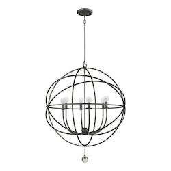 English Bronze Solaris 6 Light 29in. Wide Wrought Iron Chandelier