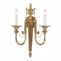 Crystorama Two Light Olde Brass Wall Light - 7002-OB