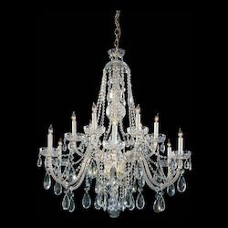 Polished Brass Traditional Crystal 12 Light 36in. Wide 2 Tier Glass Candle Style Chandelier with Clear Swarovski Spectra Crystal
