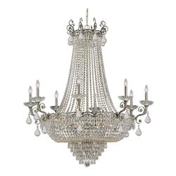 Historic Brass Majestic 20 Light 46in. Wide Cast Brass Empire Chandelier with Clear Swarovski Elements Crystal and Candle Style Accents