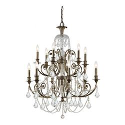English Bronze Regis 12 Light 32in. Wide 2 Tier Wrought Iron Candle Style Chandelier with Clear Swarovski Spectra Crystal