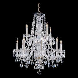 Twelve Light Polished Brass Up Chandelier - Crystorama 5047-PB-CL-MWP