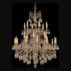 Olde Brass Novella 24 Light 40in. Wide 2 Tier Cast Brass Candle Style Chandelier with Golden Teak Hand Cut Crystal