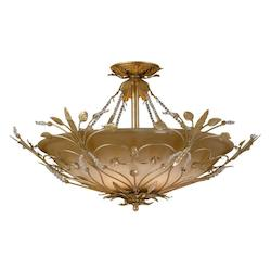 Crystorama Six Light Gold Leaf Swarovski Spectra Crystal Beads Glass Bowl Semi-Flush Mount - 4707-GL