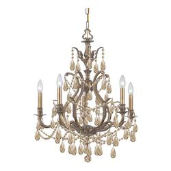 Five Light Antique Brass Up Chandelier - Crystorama 5575-AB-GTS