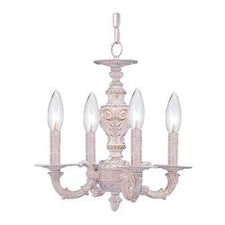 Crystorama Four Light Antique White Up Chandelier - 5124-AW