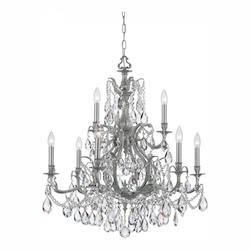 Pewter / Clear Hand Cut Dawson 6 Light Candle Style Crystal Chandelier