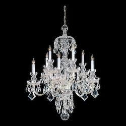 Polished Brass Traditional Crystal 10 Light 28in. Wide 2 Tier Glass Candle Style Chandelier with Clear Swarovski Spectra Crystal