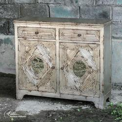 Distressed Silver Leafing Console Cabinet - 149984