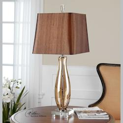 Amber Glass And Crystal Gattis Table Lamp with Square Shade