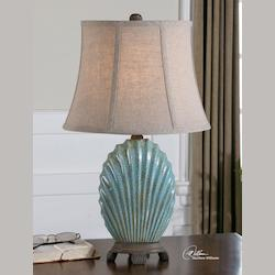 Crackled Blue Seashell Table Lamp