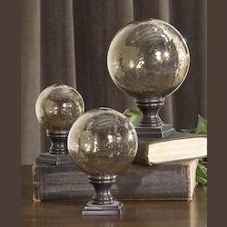 Lamya Collection Glass Globe Finials, (Set of 3) 19563