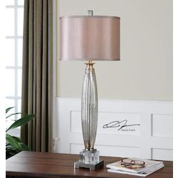 Glass And Brushed Nickel Loredo Table Lamp with Cylinder Shade