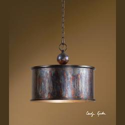 Oxidized Bronze Albiano 1 Light Drum Shaped Indoor Pendant