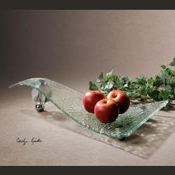 Clear Glass Zorb Textured Glass 12in. x 21in. Decorative Tray