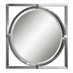 B Brushed Nickel Kagami Beveled Mirror