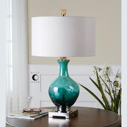 Blue Glass And Polished Nickel Yvonne Table Lamp with Cylinder Shade