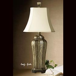 Warm Antiqued Silver Leaf Over Black Underlayer Sanchiel Tall Table Lamp