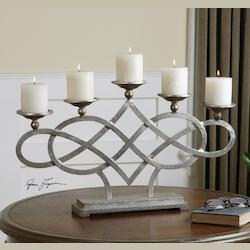 Bright Silver Adala Wrapped Metal Candleholder