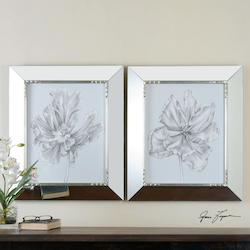Silvery Blue Tulips In Mirrored Frames S/2 - 150194