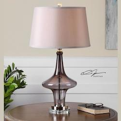 Smoke Gray With Polished Nickel Nona 1 Light Table Lamp