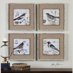 Earthtones Black And White Birds 18W X 18H Paintings - Set Of 4 - 150229