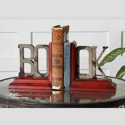 Distressed Red Book Bookends Set of 2