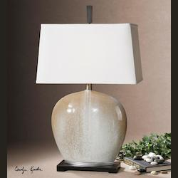 Beige Ivory Frosting With Silver Leaf Baycliff 1 Light Table Lamp