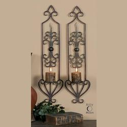 Mahogany Rust And Olive Bronze Privas Candle Wall Sconces Set of 2