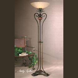 Golden Bronze Metal With Antique Wood Tone Details Andra Torchier Lamp