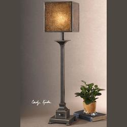 Distressed Rustic Bronze / Gold Metal Buffet Lamp with Crushed Glass Shade from the Meora Collection