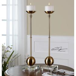 Brass Laton Brushed Brass Candle Holder - White Candle Included - Set of 2
