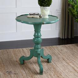 Antiqued Aqua Aquila Turned Pedestal Accent Table with Hand Painted Finish