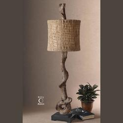 Weathered Driftwood / Matte Black Driftwood 1 Light Table Lamp with Natural Twine Shade
