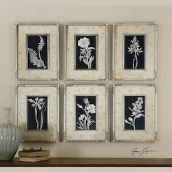 Artwork Reproduction Glowing Florals Framed Wall Art, Set of Six
