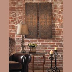 Rust Brown Alexia Panels Set of 2 Wall Art