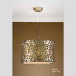 Silver Leaf, Black Alita 3 Light Metal Hanging Shade Pendant from the Naturals Collection