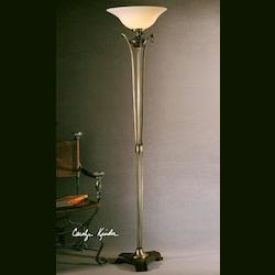 Burnished Wood Tone, Aged Bronze Details Adela Torchier Lamp