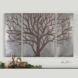 Rustic Brown Winter View Set Of 3 Wall Art