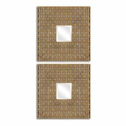 Antiqued Gold Leaf Adelina Squares Mirrors, Set of Two