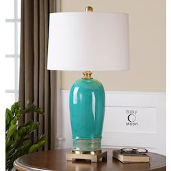 Crackle Blue Brushed Antiqued Gold Albertus 1 Light Table Lamp