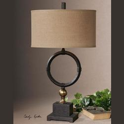 Uttermost Pueblo Black Circle Table Lamp - 26296-1