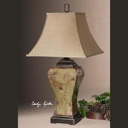 Mossy Green Single Light Distressed Porcelain Square Table Lamp from the Porano Collection