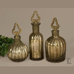 Antiqued Silver, Brass Kaho Set of 3 Glass Perfume Bottles with Brass Wire Details