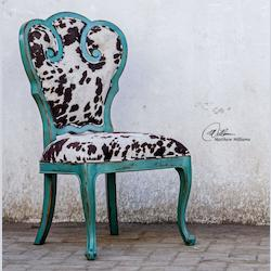 Aqua Blue With Dark Chocolate And Milky White Velvet Chahna Velvet Accent Chair